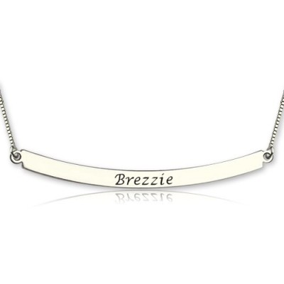 Gekrümmte Bar Halskette aus Sterling Silber