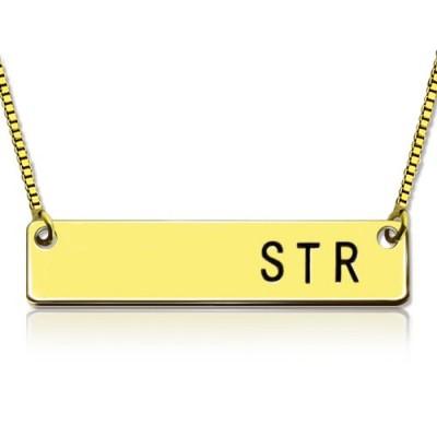 Personalisierte Initial Bar Halskette 18 karätigem Gold überzogen