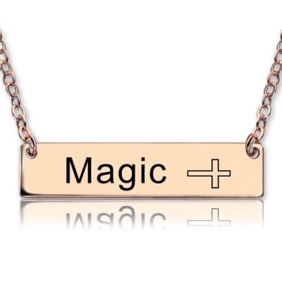 Gravierte Name Bar Halskette mit Icons 18ct Rose Gold überzogen