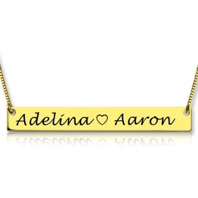 Gold Bar Halskette Gravierte Doppelnamen