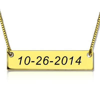 Gravierte Datum Bar Halskette 18 karätigem Gold überzogen