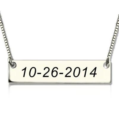 Personalisierte Sterling Silber aufgenommen Bar Halskette