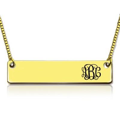 Personalisierte 18ct Gold überzogener Initial Bar Halskette Monogramm