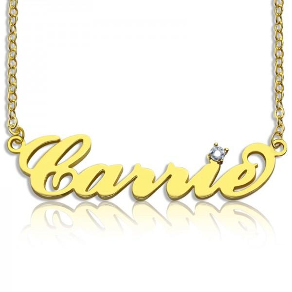Namensschild 18 Halskette Karat Mit Carrie Überzogen Gold Geburtsstein kOuiXZPT