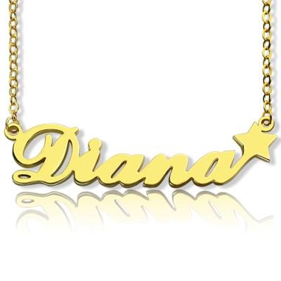 18 karätigem Gold überzogen Carrie Stil Namenskette mit Stern