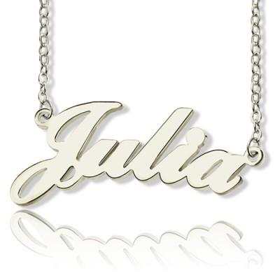 Feste 18ct weißes Gold überzogen Julia Art Name Halskette