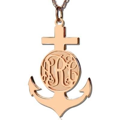 Rose Gold Anchor Kreuz Monogramm Initialen Anhänger