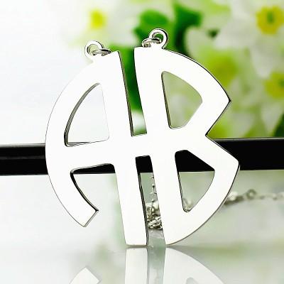 Personailzed Silber Zwei Anfängliche Block Monogramm Anhänger