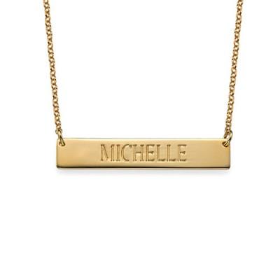Gravierte Bar Halskette in Gold Plating