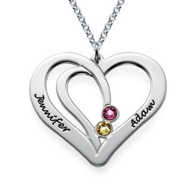 Gravierte Paare birthstone Halskette in Silber