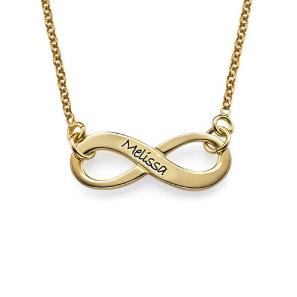 Gravierte Unendlichkeit Halskette in 18 Karat Vergoldung