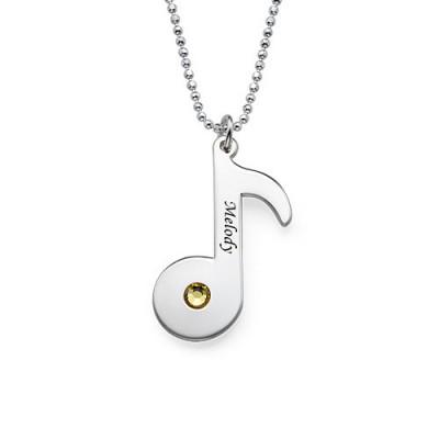 Gravierte Music Note Halskette mit Birthstone