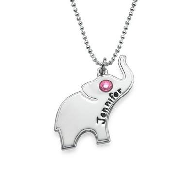 Gravierte Silber Elefant Halskette