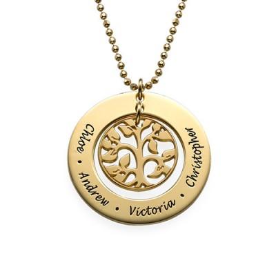 Geschenk für Mamma Gold überzogener Familie Baum Halskette