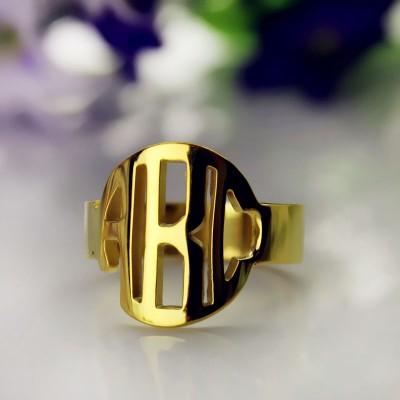 18ct Gold überzogener Block Monogramm Ring