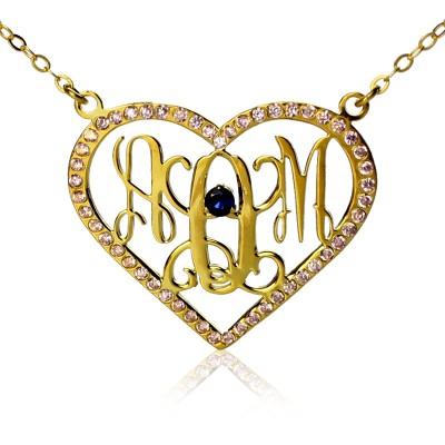 Geburtsstein Herz Monogramm Halskette 18 karätigem Gold überzogen