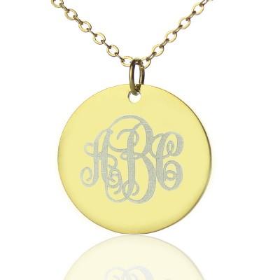 Disc Skript Monogramm Halskette 18 karätigem Gold überzogen
