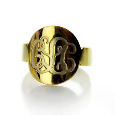Gravierte 18ct Gold überzogener Skript Monogramm Itnitial Ring