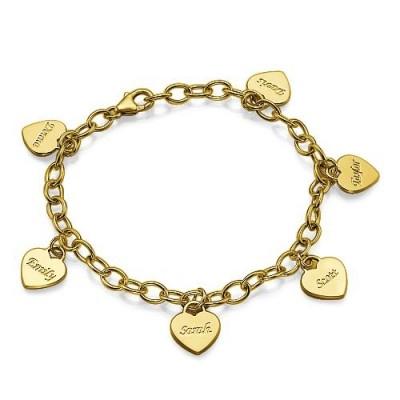 18k Gold überzogener Herz Charme Mütter Armband / Fußkettchen
