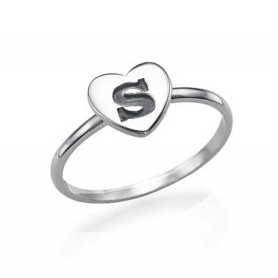 Herz Initial Ring in Sterlingsilber