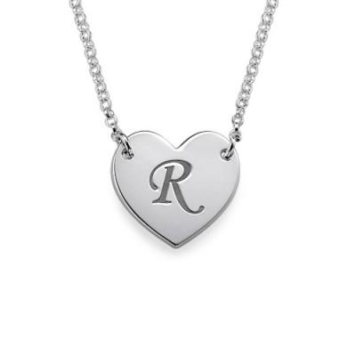 Herz Halskette mit Initial Drucken Schrift