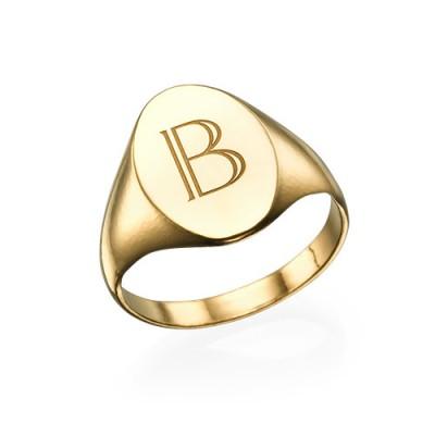 Anfängliche Siegelring 18 karätigem Gold überzogen
