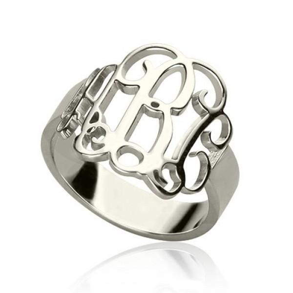 Personalisierte Sterling Silber Monogramm Ring