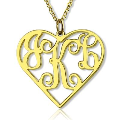 18ct Gold überzogenes Silber 925 Initialen Monogramm personifizierte Herz Halskette Einzelhaken