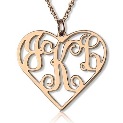 Feste 18ct Rose Gold Initialen Monogramm Personalisierte Herz Halskette