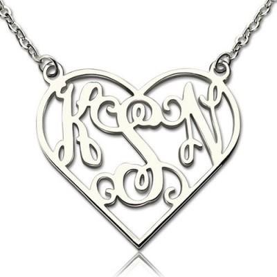 Herz Monogramm Halskette aus Sterling Silber