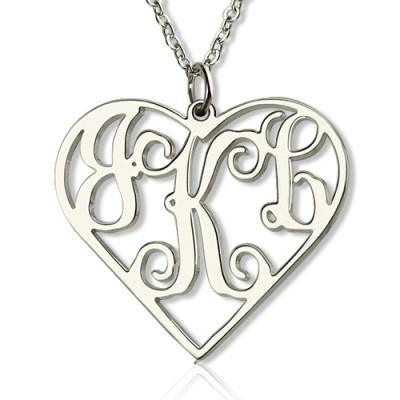 Sterling Silber Ausschnitte Herz Monogramm Halskette