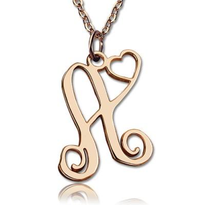 Personalisierte Ein Initial mit Herz Monogramm Halskette 18ct Rose Gold überzogen