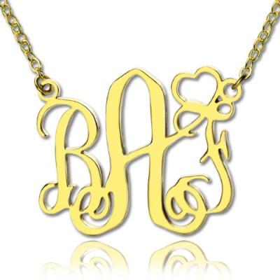 Personalisierte Initialen Monogramm Halskette mit Herz 18 karätigem Gold überzogen