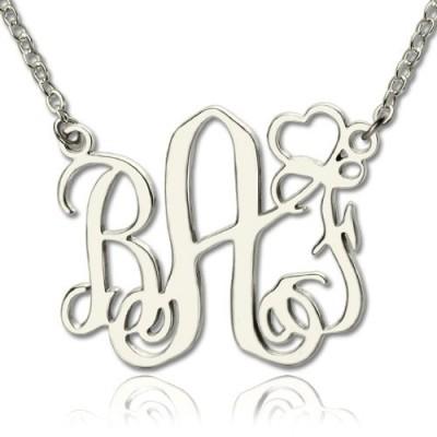 Personalisierte Initialen Monogramm Halskette mit Herz Srerling Silber
