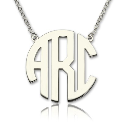 Festes weißes Gold 18ct Anfängliche Block Monogramm Anhänger Halskette