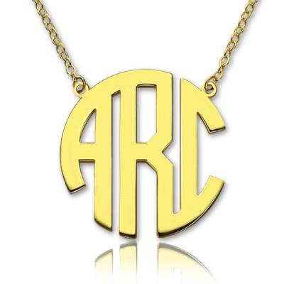 18ct Gold überzogene Block Monogramm Anhänger Halskette