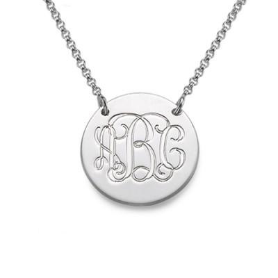 Monogramm Disc Halskette aus Sterling Silber