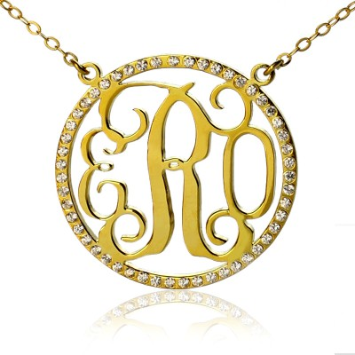 18ct Gold überzogener Kreis Geburtsstein Monogramm Halskette