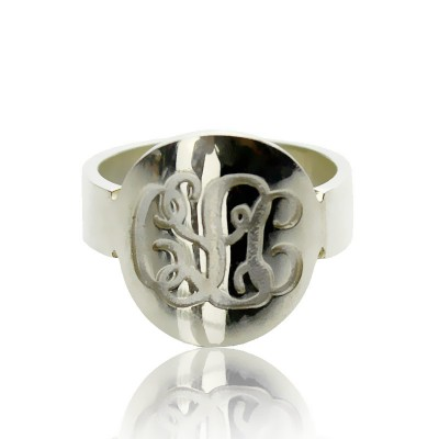 Erstellen Sie Ihr eigenes Monogramm Itnitial Ring Sterling Silber