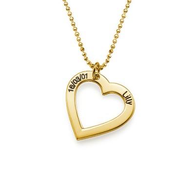 18k Gold überzogen 0,925 Silber Gravierte Halskette Herz