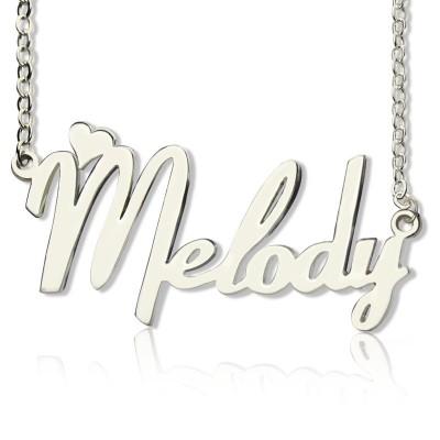 Personalisierte 18ct weißes Gold überzogen Fiolex Girls Schriftart Herz Namen Halskette