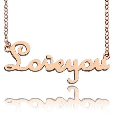 Personalisierte Fest Rose Gold Französisch Font I Love You Name Halskette