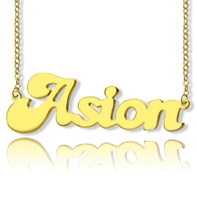 Personalisierte 18ct Gold überzogene BANANEN Schrift Art Name Halskette