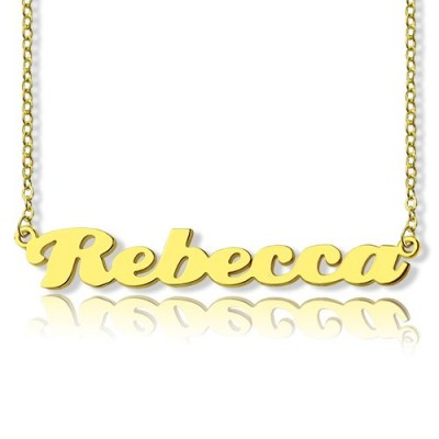 Personalisierte 18ct Vergoldetes Silber Puff Font Name Halskette