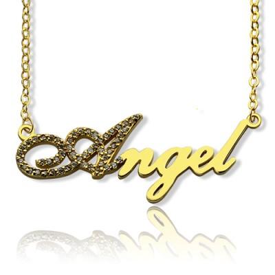 18ct Gold überzogener Skriptname Halskette Initial Vollbirthstone