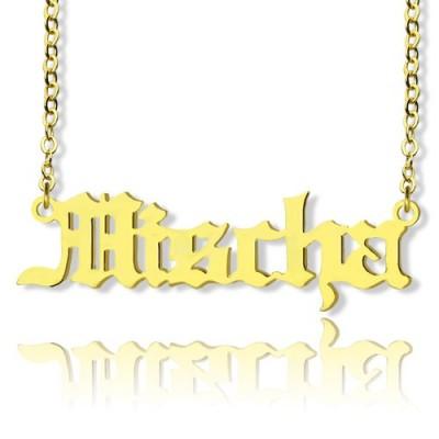 Old English Namenskette 18 karätigem Gold überzogen