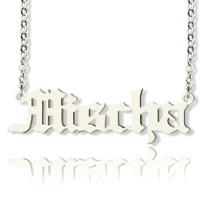 Mischa Barton Stil Old English Font Name Halskette 18ct weißes Gold überzogen