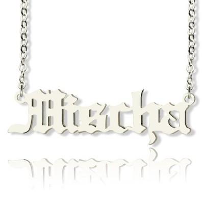 Altenglischen Namen Halskette aus Sterling Silber