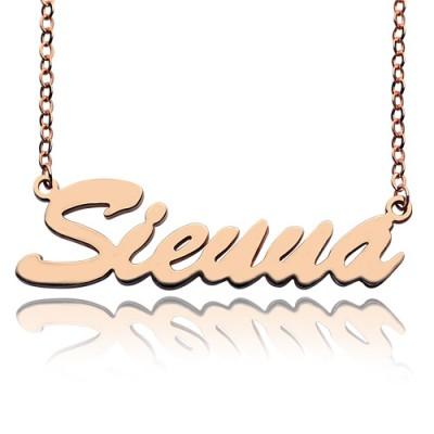 18ct Rose Gold überzogen Sienna Art Name Halskette
