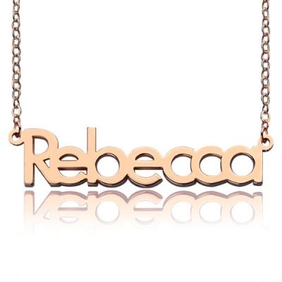 18ct Rose Gold überzogen Rebecca Art Name Halskette